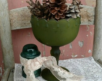 Retro Frosted Olive Green Footed Vase - Mid Century Flower Holder + Cottage Chic Organization Tool, Holiday Bowl, Serving Ware, Desk Tools