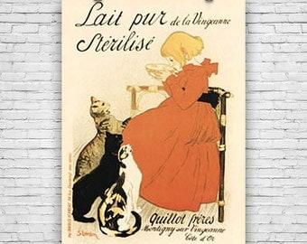 Lait Pur Sterilise, by Swiss-born French Art Nouveau Artist Théophile Steilen, Art Print Poster