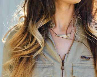 ELECTRUM | delicate triangular necklace, laser cut wood and brass necklace