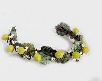 Leaves and Lemons, autumn crown, bridal headpiece, flower crown, lemons, fall, crown, leaf, green wedding, woodland