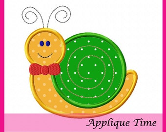 Instant Download Boy Snail Machine Embroidery Applique Design 4x4, 5x7 and 6x10