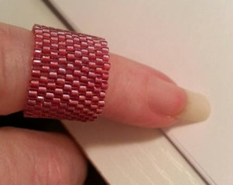 Woven Glass Bead (Scarf) Ring * Size 1.5 ... ... 16mm/o-13mm/i ... ... ... ... ... 10x28 * 229