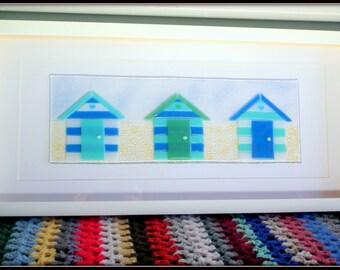 Fused Glass Blue Green Beach Hut Wall Art, Fused Glass Wall Art, Beach Hut Gift, Beach Hut Decor, Nautical Decor, Seaside Art, Beach Theme
