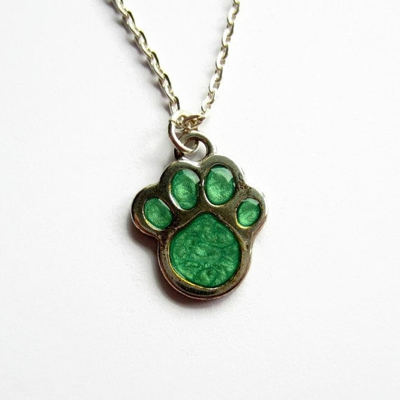 emerald green paw print necklace painted by