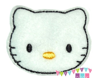 Cute White Kitty Cat Felt Embroidered Embellishment Clippie Cover SET of 4