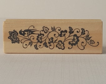 Flowers Wooden Mounted Rubber Stamping Block DIY cards, scrapbooking, and tags