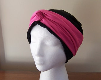 Chemotherapy Turban with Knotted Headband Accent for Women in Black and Pink Ready to Ship ON SALE