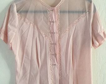 1950s pale pink blouse