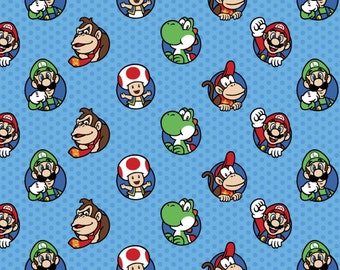 Super Mario Character Bubbles Fleece Fabric by the yard