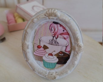 "Oval framed picture ""cupcakes"". Home decor for dollhouse at 1/12th scale"