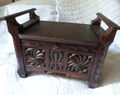 Antique French small gothic chest trunk 19th century hand carved wooden storage trunk coffer w working key lock, gothic French home decor