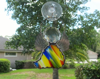 Rainbow Stained Glass Angel Ornament/Suncatcher/Gift Tag with or without Hand Stamped Aluminum Tag