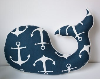 Nautical anchor beach decor, whale stuffed pillow, baby nursery shower gift