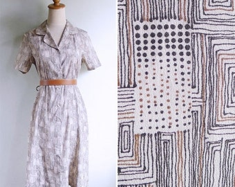 20% CNY SALE - Vintage 80's Graphic Doodles Dots & Lines Silky Day Dress S or M