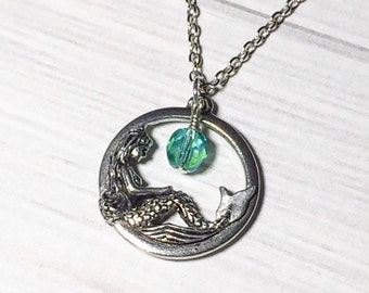 Aquamarine Mermaid Necklace Stocking Stuffer Christmas Gifts Beach Jewelry Bridesmaid Gift, Wedding, Mothers Day