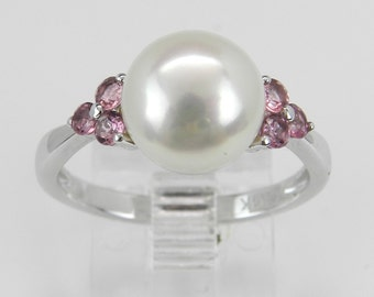 Pearl and Pink Tourmaline Engagement Ring Promise Ring 14K White Gold Size 7