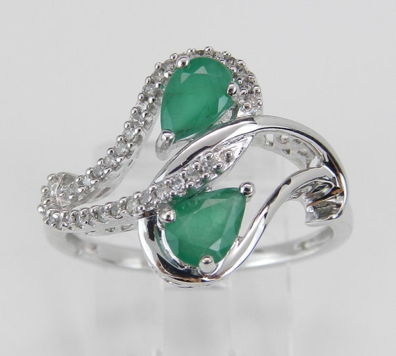 Diamond and Pear Emerald Cocktail Bypass Ring White Gold Size 7 May Birthstone