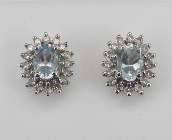 Aquamarine and Diamond Stud Earrings Halo Studs Snowflake Earring White Gold March Birthstone