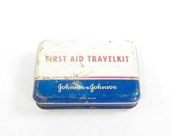 First Aid Travel Kit Tin, Vintage Johnson & Johnson Tin