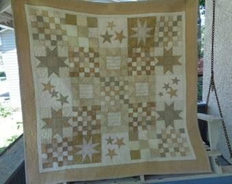 Vanilla Cream Stars TV Quilt 54 by 54  inch, Neutral Large Quilt 0526-03