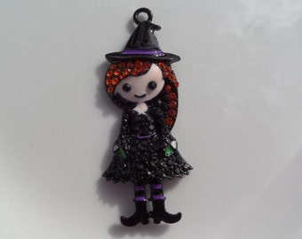 56mm Girl Witch Enamel and Rhinestone Pendant, P8