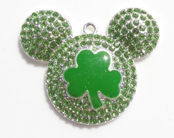 42mm Mickey Inspired Good Luck charm Rhinestone Pendant
