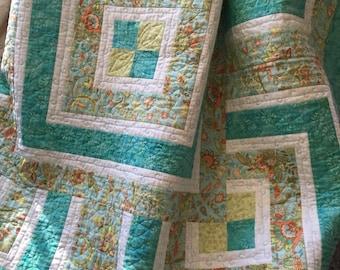 Quilt, Throw Quilt, Lap Quilt, Paisley Log Cabin Quilt, Handmade Throw Quilt, Patchwork Quilt