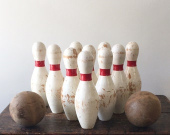 Vintage Wooden Carnival Bowling Pins with 2 Wooden Balls