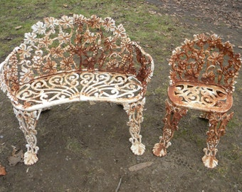 2 pieces of vintage antique strong and sturdy CAST IRON grapes and vines GARDEN bench patio furniture setee and chair pick up only