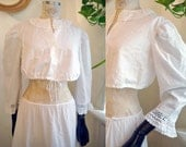 Cropped Blouse Extra Large Dirndl lingerie White Folk Regency Short sleeve Pirate Gypsy hippie Victorian Octoberfest Cotton natural rustic