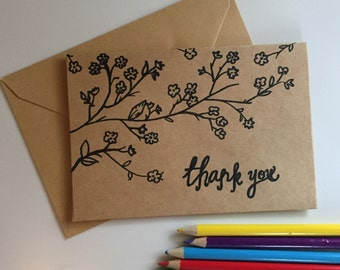 Hand Drawn Thank You Cards, Inspired Flower Thank You Cards, Wedding Thank You Cards, Kraft Note Card, Rustic Thank You Cards