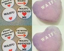 Waifu notice me pinback buttons pillows starter pack
