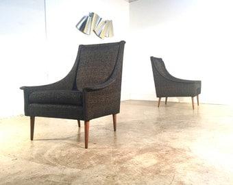 Pair Mid Century Modern Kroehler Lounge Chairs FREE SHIPPING Black Gold Velvet Retro Chair