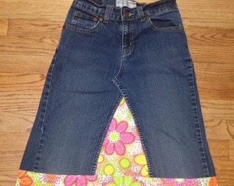 Kids Basic Knee length jean skirt sizes 4 14 kids sizes