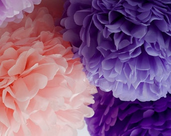 Purple and pinks  - 15 mixed sizes Tissue paper Pom Poms set  - paper pompoms -very fluffy -wedding party  decorations