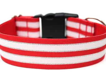 "Holiday Dog Collar 1.5"" Christmas Dog Collar SIZE MEDIUM Ready To Ship"