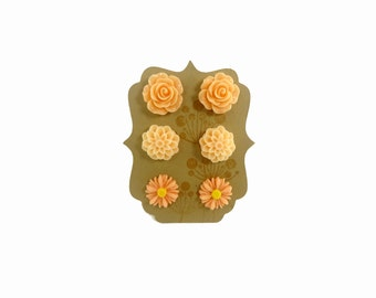 Flower Cabochon Earring Trio Gift Peach Light Peach Pink Rose Daisy Set