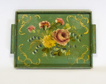 French Toleware Tray, Handpainted in Green Gold Floral, Vintage Decor