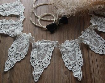 "3 yard 16cm 6.29"" wide ivory cotton mesh embroidery lace trim ribbon bsvb free ship"