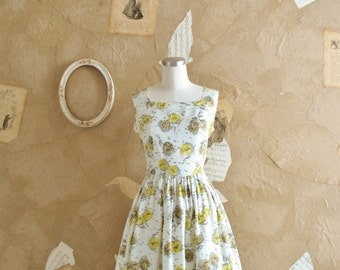 Vintage 1950s Yellow and White Rrose Print Dress -New Beginings-
