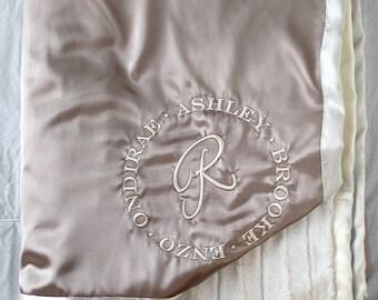 Minky Blanket, satin and minky, blanket for family, adult blanket, adult minky blanket, gold blanket, wedding gift, anniversary blanket