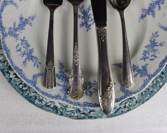 Antique China Plates with Mismatched Silver Plate Flatware, Romantic Tablesetting, Shabby Vintage