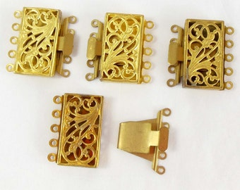 Vintage French Box Clasps, Vintage Filigree Brass, Five Hole Clasps, Jewelry Making, Antique Brass, 21 x 23mm, B'sue Boutiques, Item07668