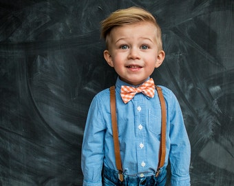Orange Gingham Bow Tie for boys and Tan Leather (pu) Suspenders SET, choose size  to fit ages 2-15years, ships FREE