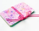 Mini moleskine notebook Watercolour cover- Pink w/pink ribbon