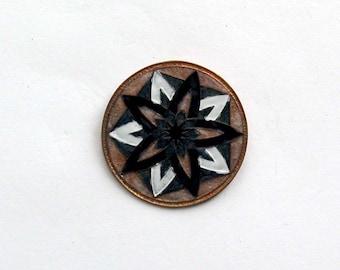 Black, White, Green, and Pink Mandala Brooch