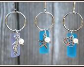 Bead Glass Keyrings, Seaglass-Like Keyrings, Glass Key Chains, Frosted Glass Keyrings, Beach Themed Keyrings, Aquatic Charm Keyrings