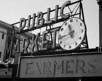 11:43 Black & White Photography Print  |  Pike Place Market, Seattle, Washington | 11x14 Urban Architecture Photography Décor