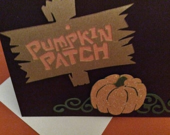 "Halloween card, brown, Pumpkin, Vines, 4 1/4"" x 5 1/2"", Sign, Pumpkin Patch, Happy Halloween, Raised, Handmade, embellishments"