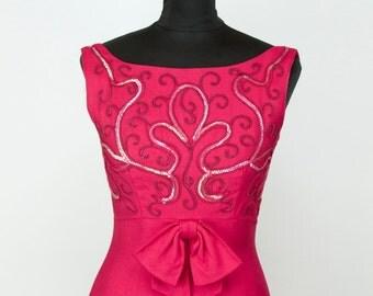 1960s Dress // Fuchsia Sequin Full Length Evening Gown
